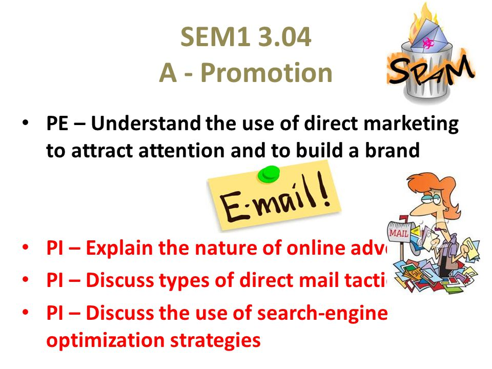 SEM1 3.04 A - Promotion PE – Understand the use of direct marketing to attract attention and to build a brand Terms Online Advertising