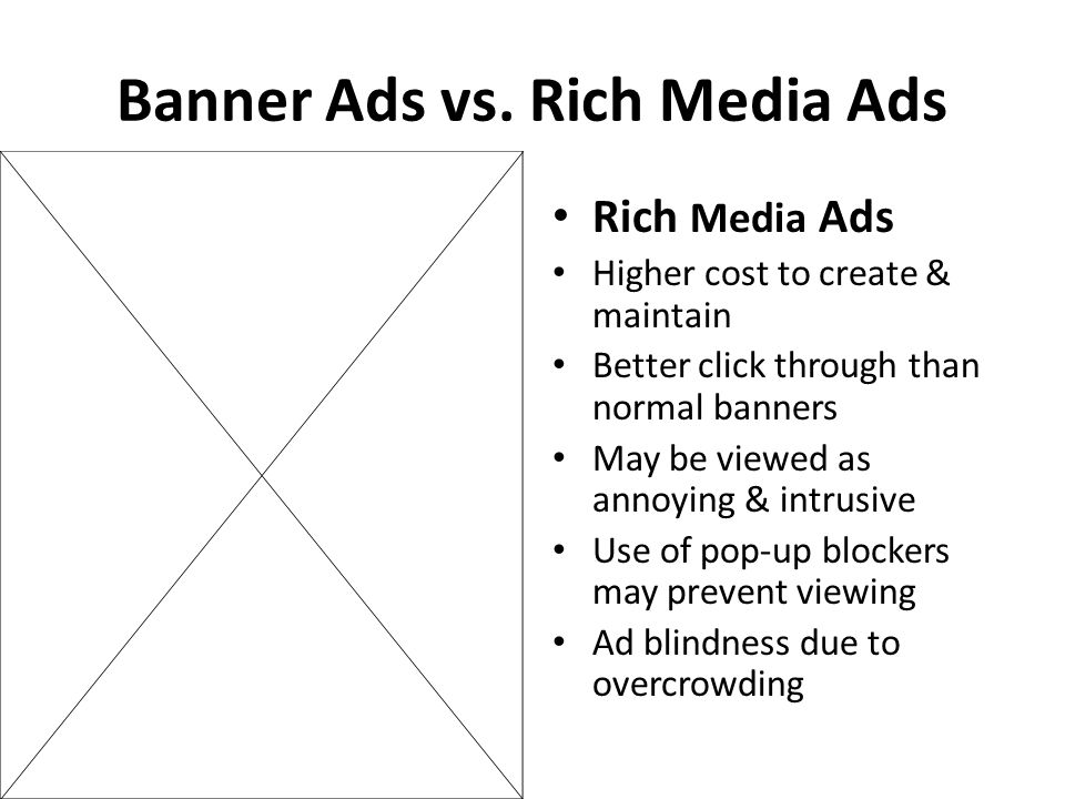 Banner Ads vs. Rich Media Ads Rich Media Ads Higher cost to create & maintain Better click through than normal banners May be viewed as annoying & int