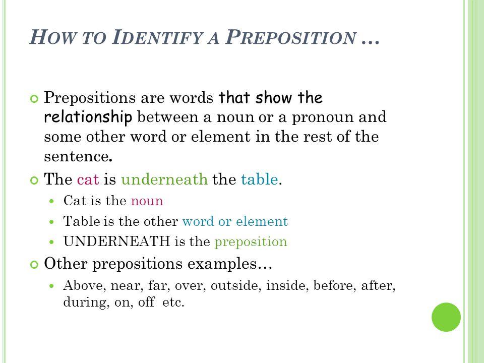 P REPOSITIONS SHOW A R ELATIONSHIP … 1.