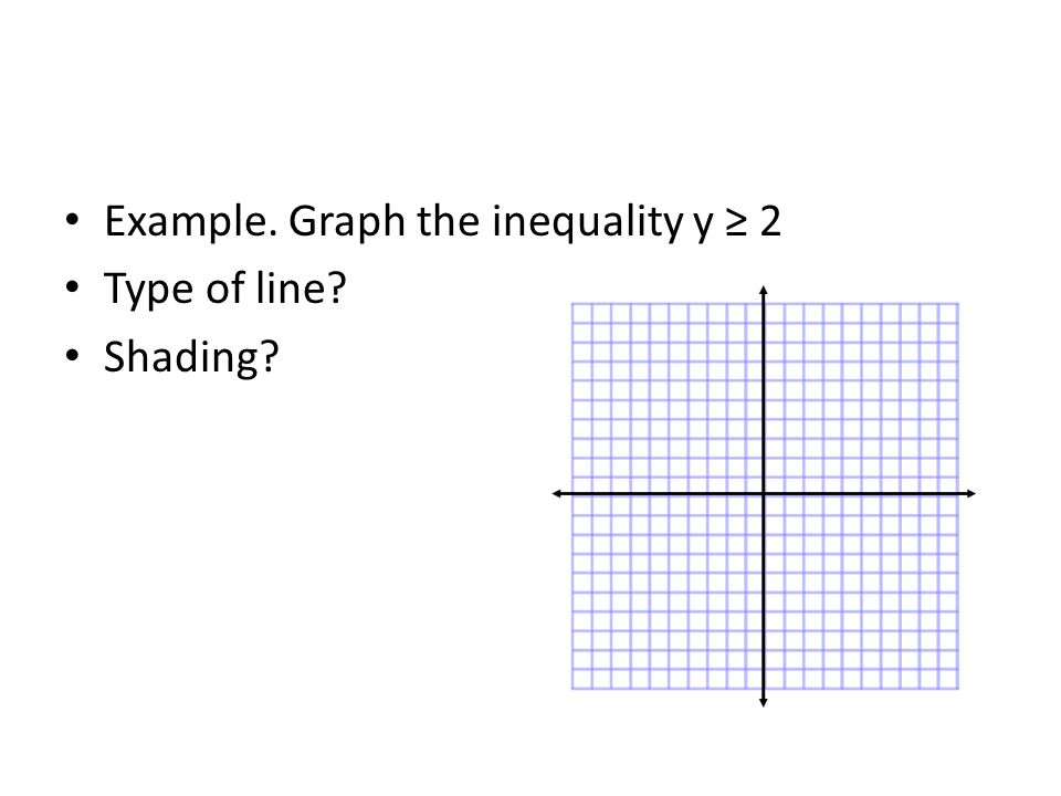 Example. Graph the inequality y ≥ 2 Type of line? Shading?