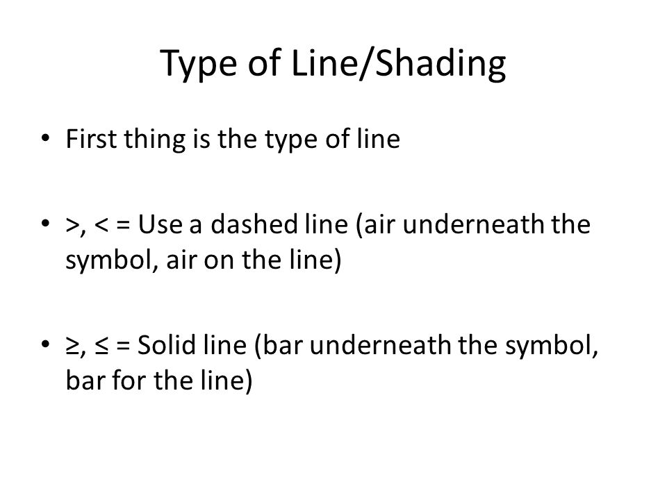 Type of Line/Shading First thing is the type of line >, < = Use a dashed line (air underneath the symbol, air on the line) ≥, ≤ = Solid line (bar underneath the symbol, bar for the line)