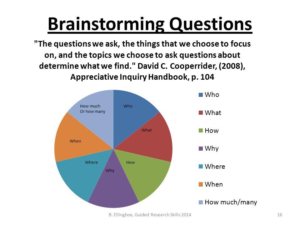 Brainstorming Questions 16B. Ellingboe, Guided Research Skills 2014