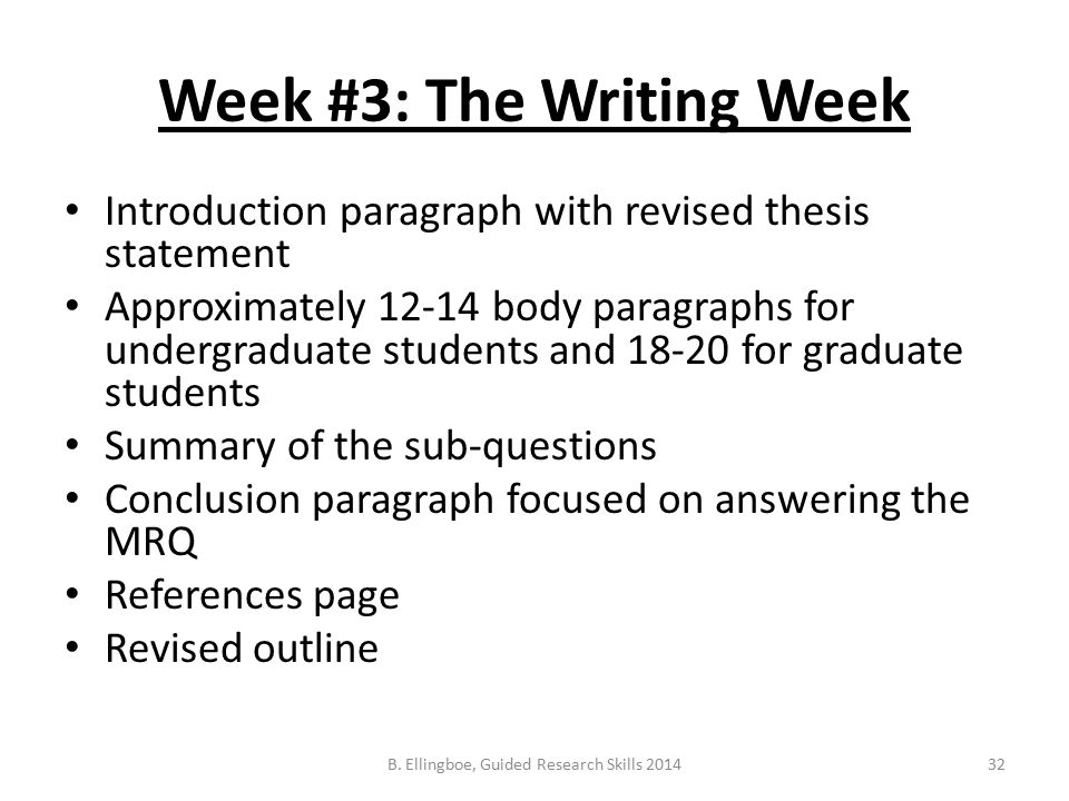 Week #3: The Writing Week Introduction paragraph with revised thesis statement Approximately 12-14 body paragraphs for undergraduate students and 18-20 for graduate students Summary of the sub-questions Conclusion paragraph focused on answering the MRQ References page Revised outline 32B.