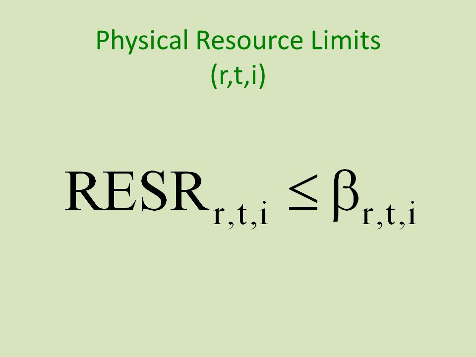 Physical Resource Limits (r,t,i)