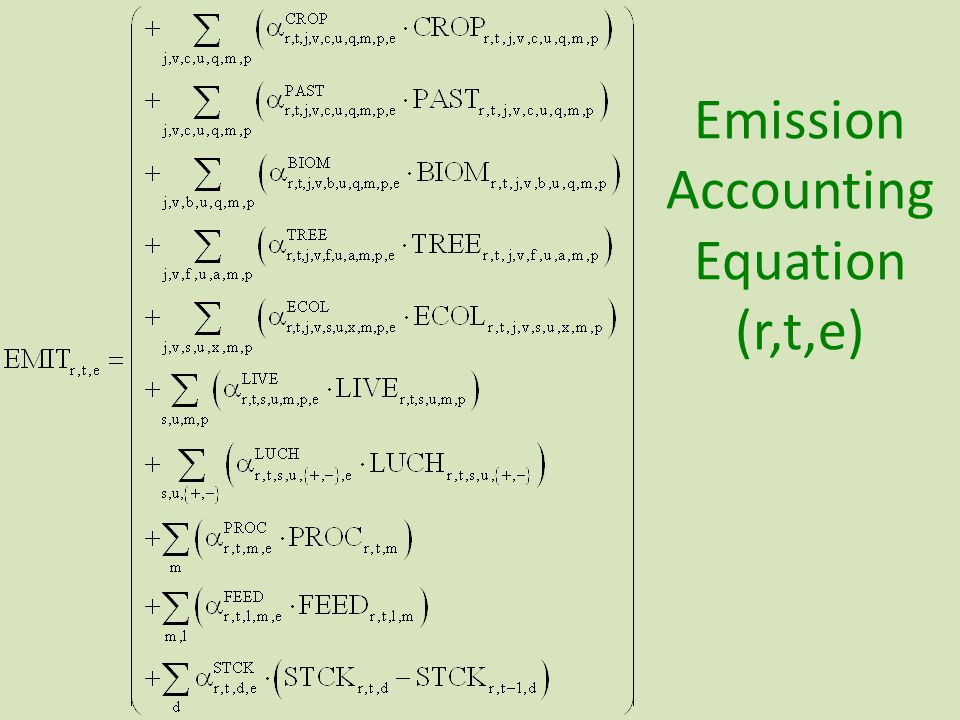 Emission Accounting Equation (r,t,e)