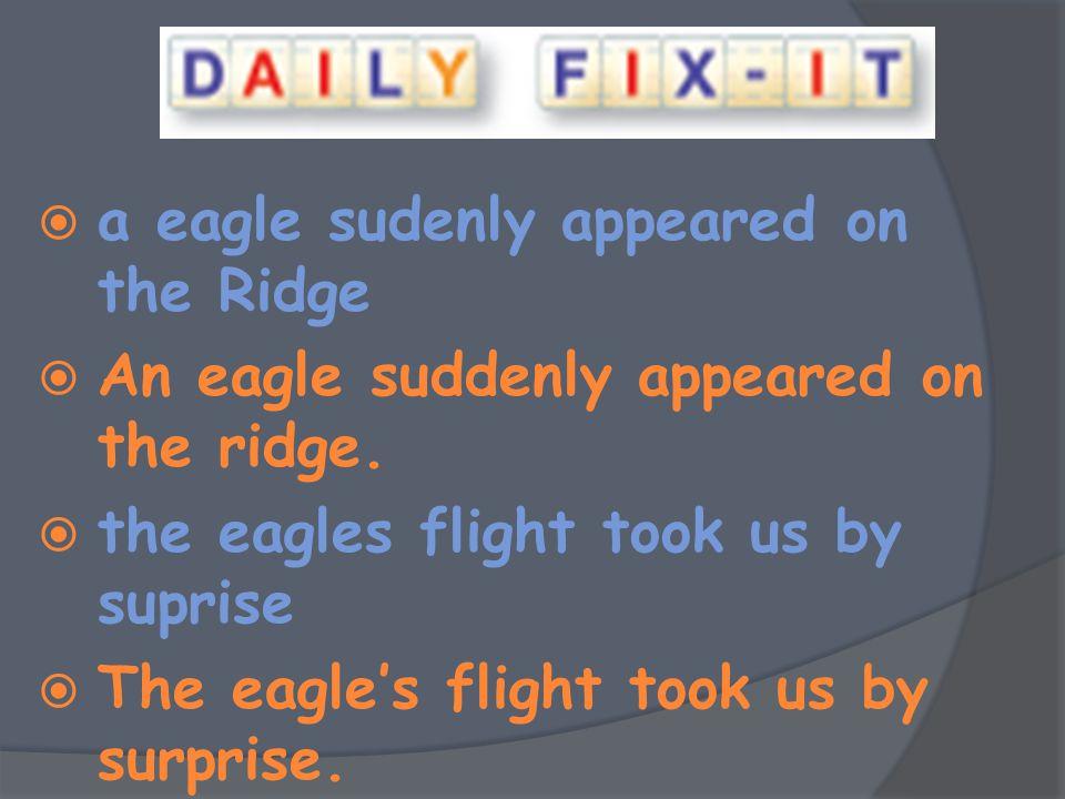  a eagle sudenly appeared on the Ridge  An eagle suddenly appeared on the ridge.  the eagles flight took us by suprise  The eagle's flight took us