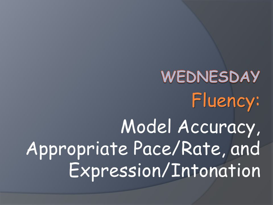 Fluency Fluency: Model Accuracy, Appropriate Pace/Rate, and Expression/Intonation