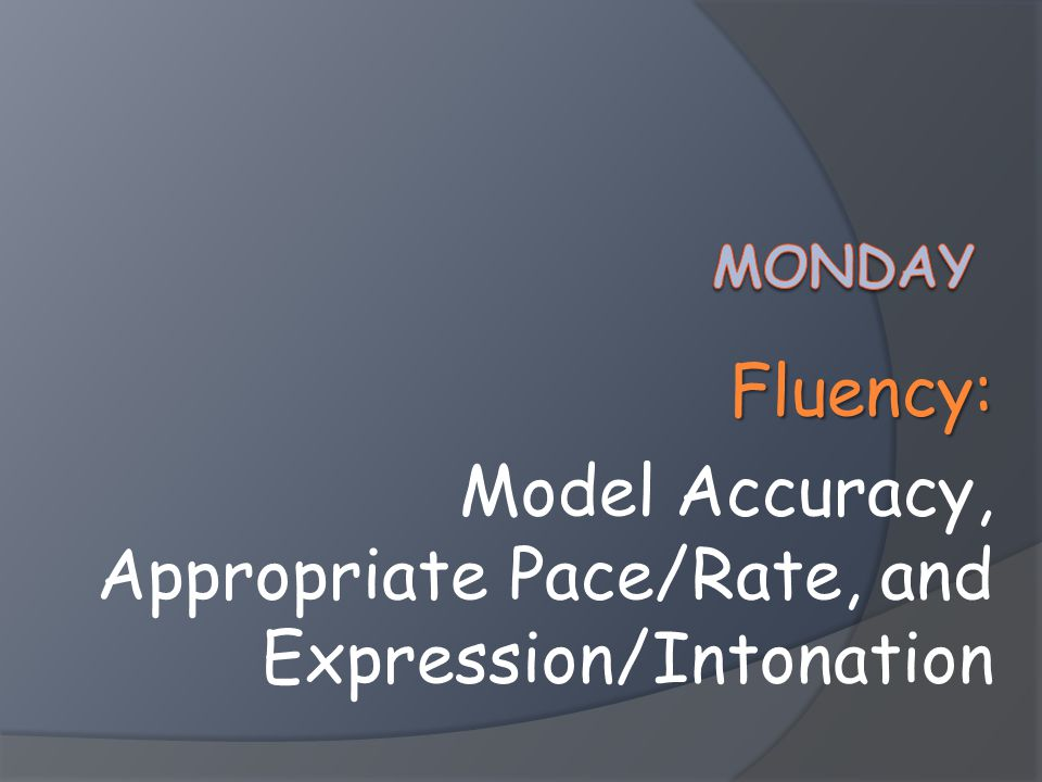 Fluency: Model Accuracy, Appropriate Pace/Rate, and Expression/Intonation