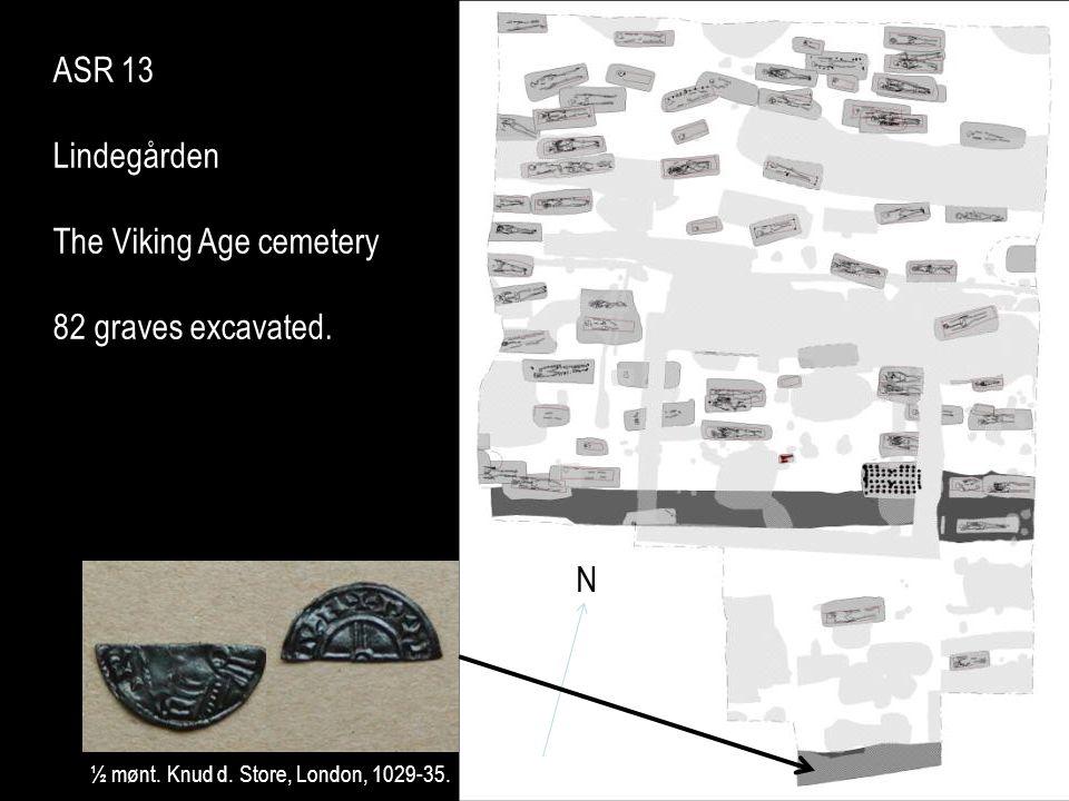 ASR 13 Lindegården The Viking Age cemetery 82 graves excavated. N ½ mønt. Knud d. Store, London, 1029-35. N