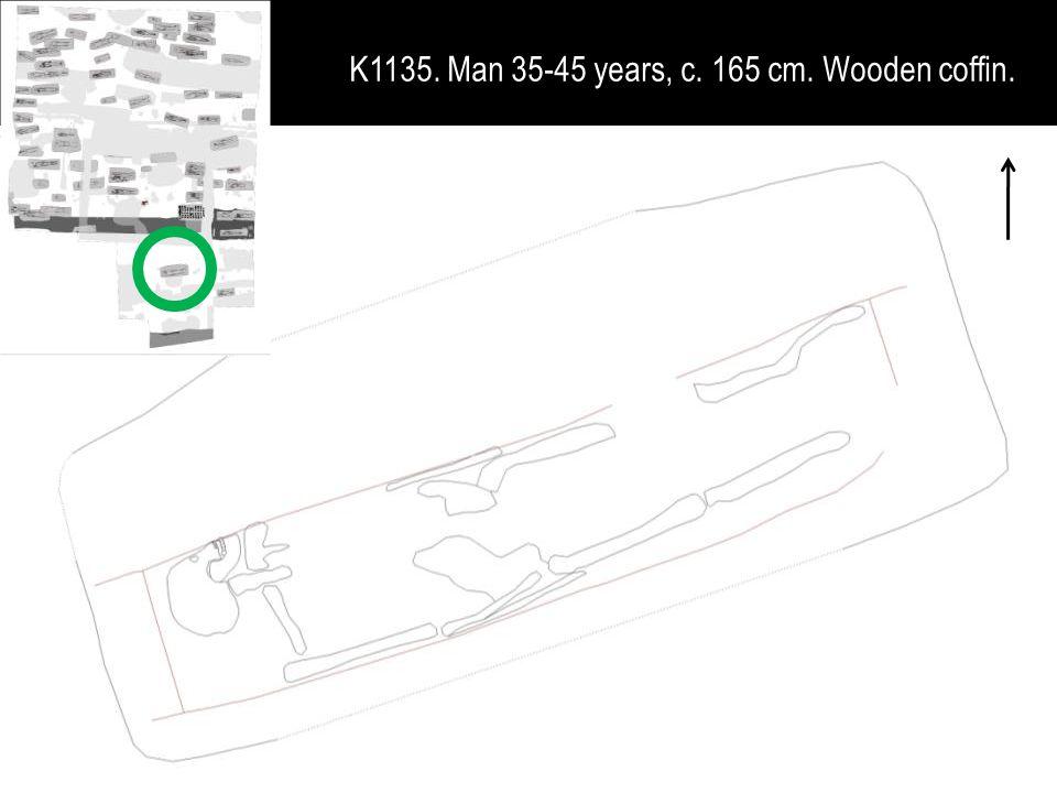 K1135. Man 35-45 years, c. 165 cm. Wooden coffin.