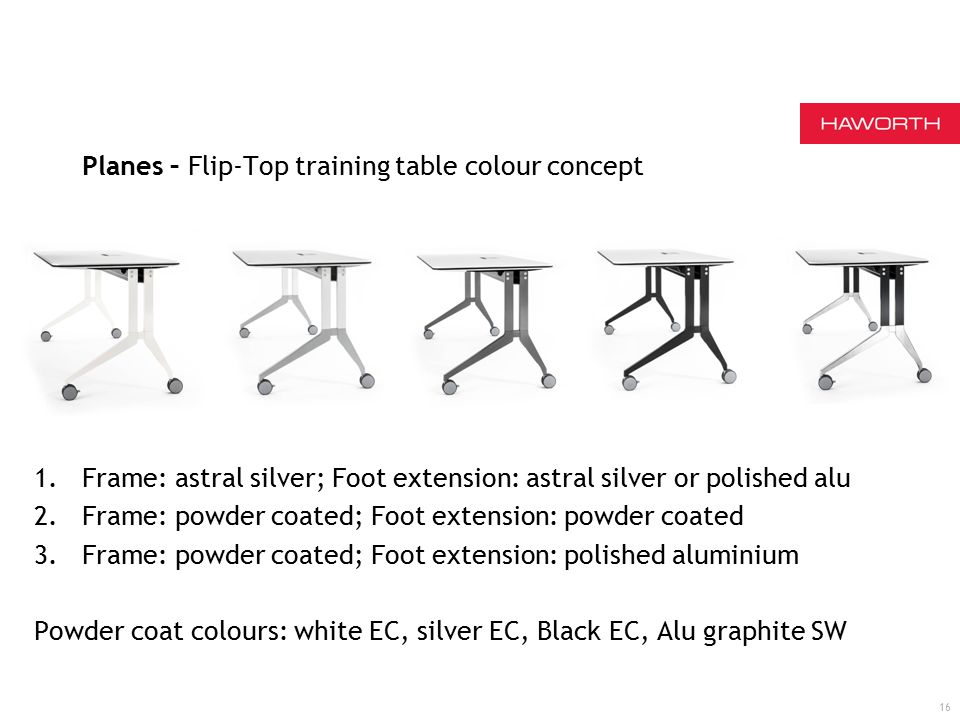 16 Planes – Flip-Top training table colour concept 1.Frame: astral silver; Foot extension: astral silver or polished alu 2.Frame: powder coated; Foot extension: powder coated 3.Frame: powder coated; Foot extension: polished aluminium Powder coat colours: white EC, silver EC, Black EC, Alu graphite SW
