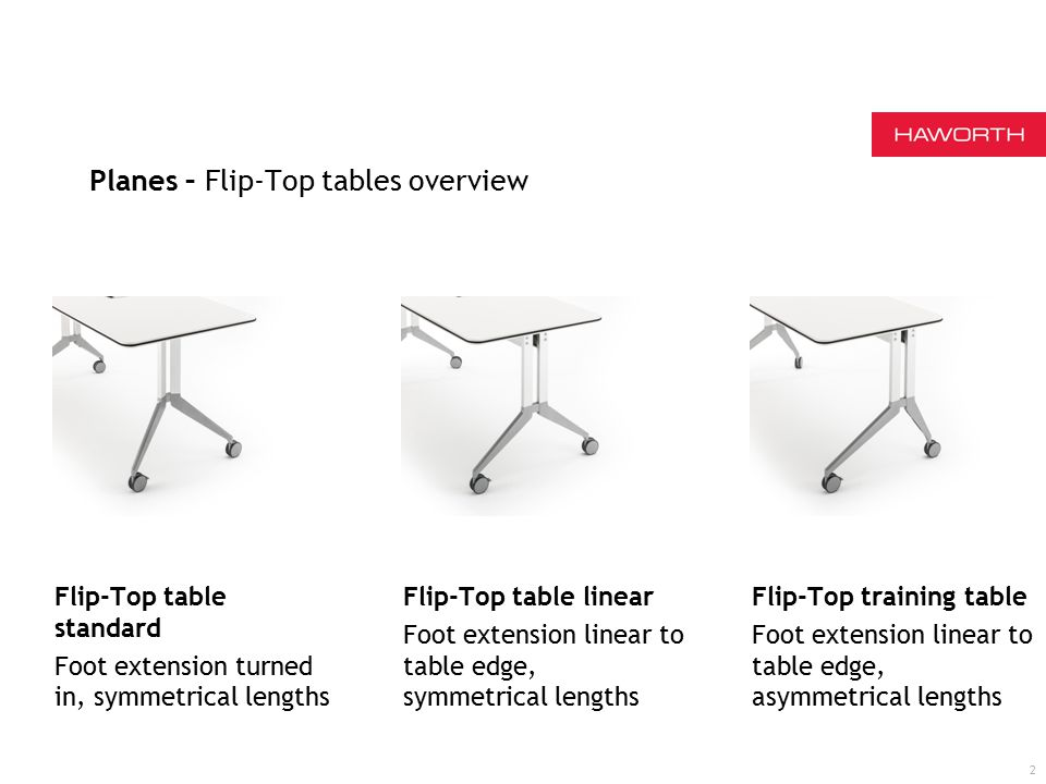 Flip-Top table standard Foot extension turned in, symmetrical lengths Flip-Top table linear Foot extension linear to table edge, symmetrical lengths Flip-Top training table Foot extension linear to table edge, asymmetrical lengths 2 Planes – Flip-Top tables overview