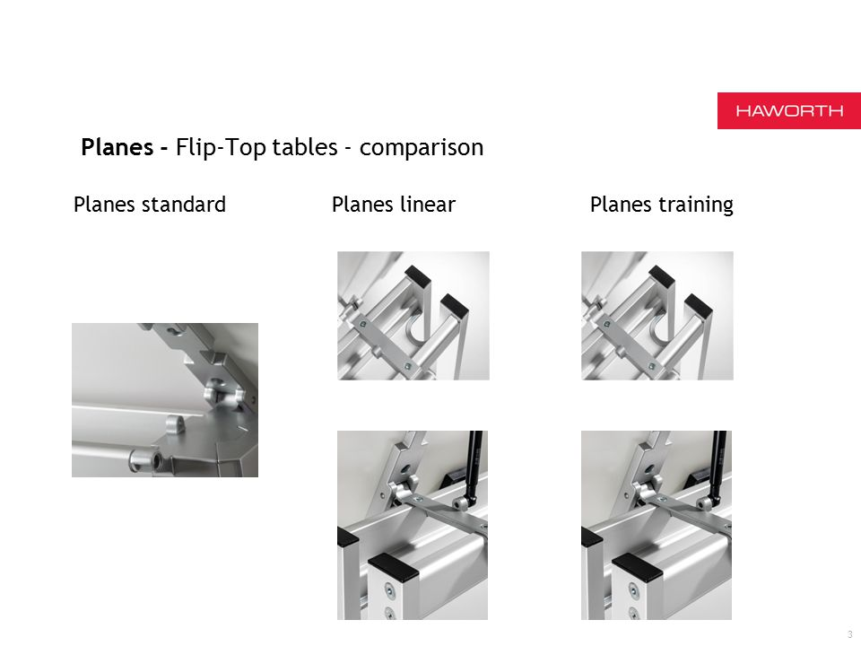 Planes - Flip-Top tables - comparison 3 Planes standard Planes linear Planes training