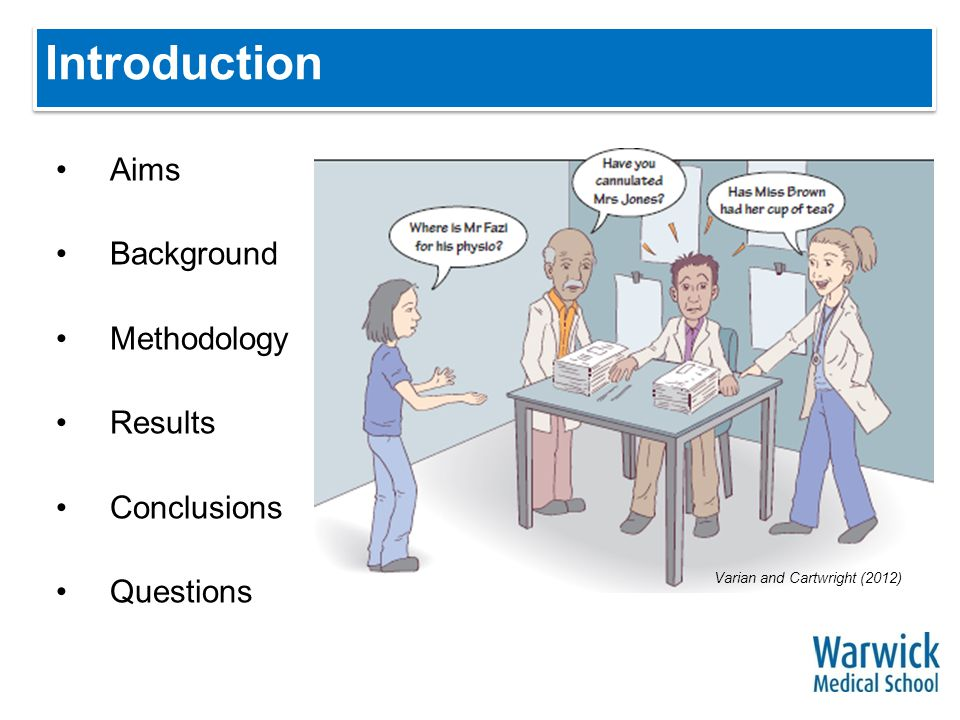 Introduction Aims Background Methodology Results Conclusions Questions Varian and Cartwright (2012)