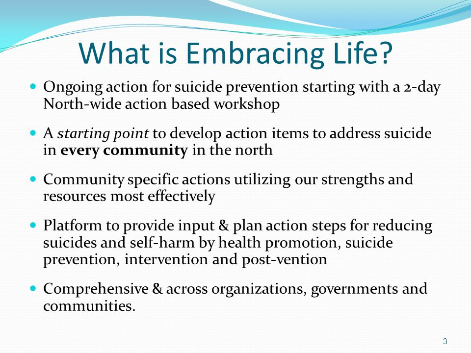 What is Embracing Life? Ongoing action for suicide prevention starting with a 2-day North-wide action based workshop A starting point to develop actio