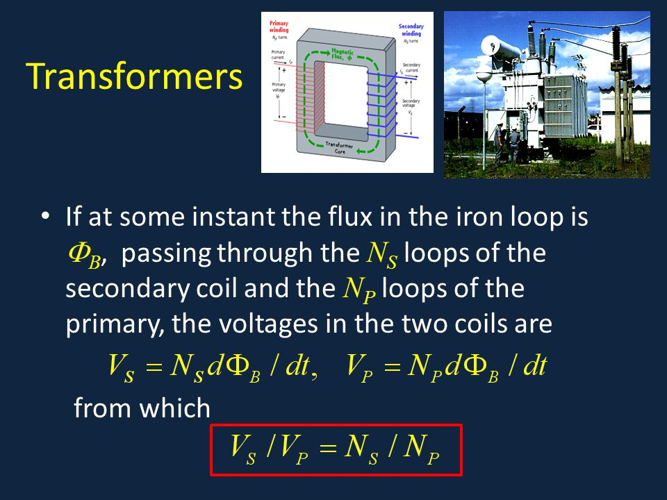 Transformers If at some instant the flux in the iron loop is  B, passing through the N S loops of the secondary coil and the N P loops of the primary