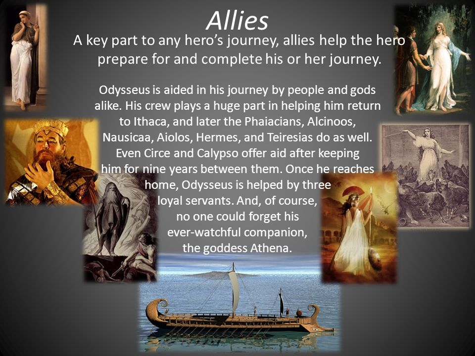 Allies A key part to any hero's journey, allies help the hero prepare for and complete his or her journey.