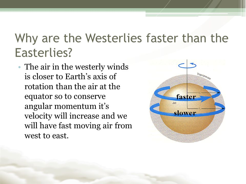Why are the Westerlies faster than the Easterlies.