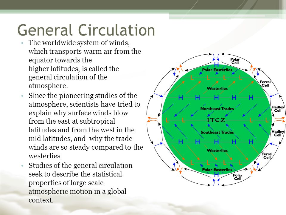 General Circulation The worldwide system of winds, which transports warm air from the equator towards the higher latitudes, is called the general circulation of the atmosphere.