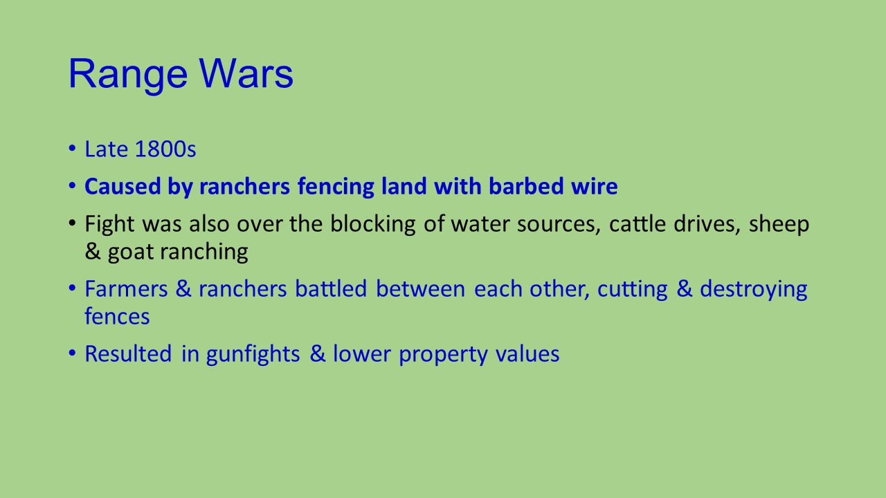 Fencing Laws Fence cutting became an important political issue Texas Legislature made fence cutting a felony Also required a gate every 3 miles of fence to allow passage of roads & railroads