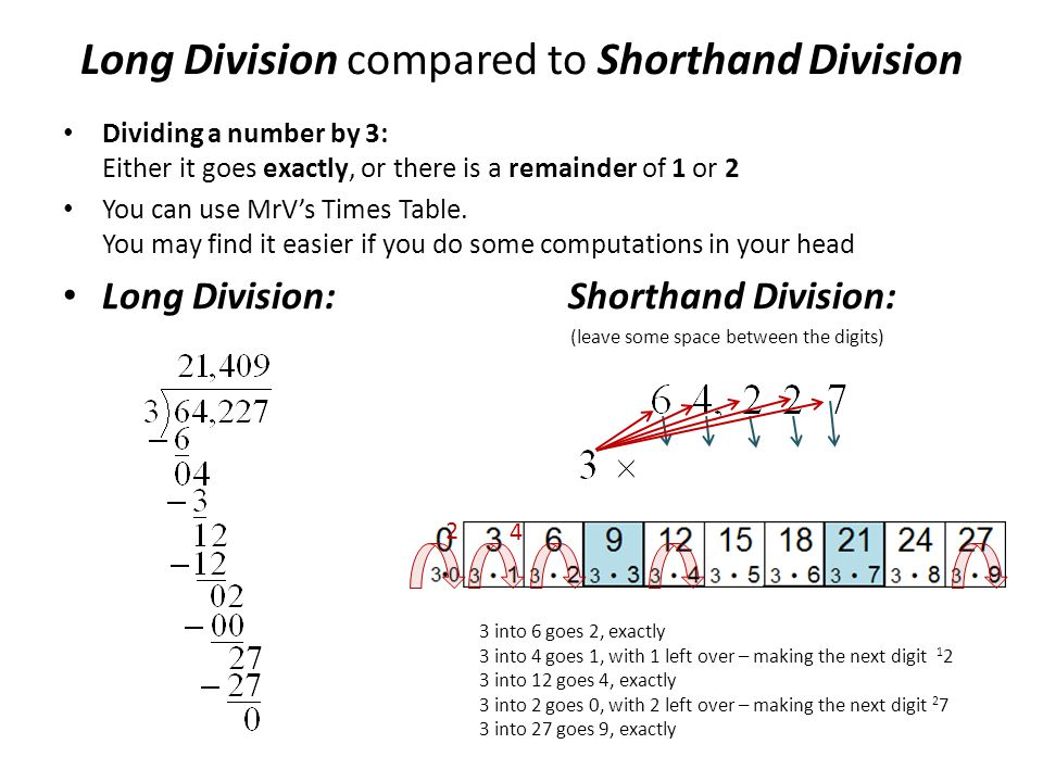 Dividing a number by 3: Either it goes exactly, or there is a remainder of 1 or 2 You can use MrV's Times Table. You may find it easier if you do some