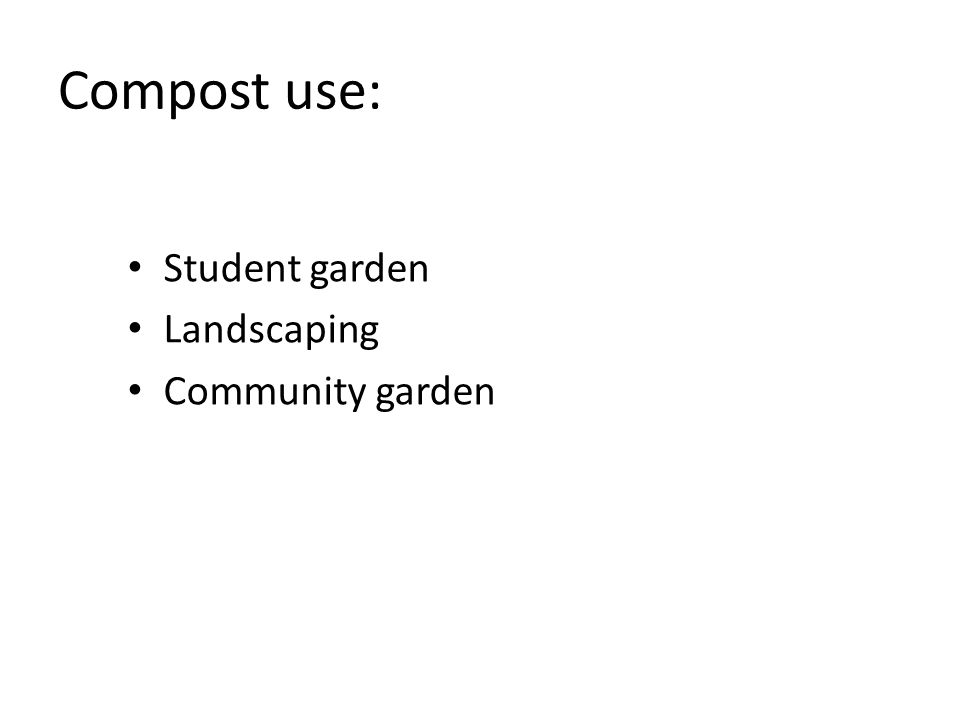 Compost use: Student garden Landscaping Community garden