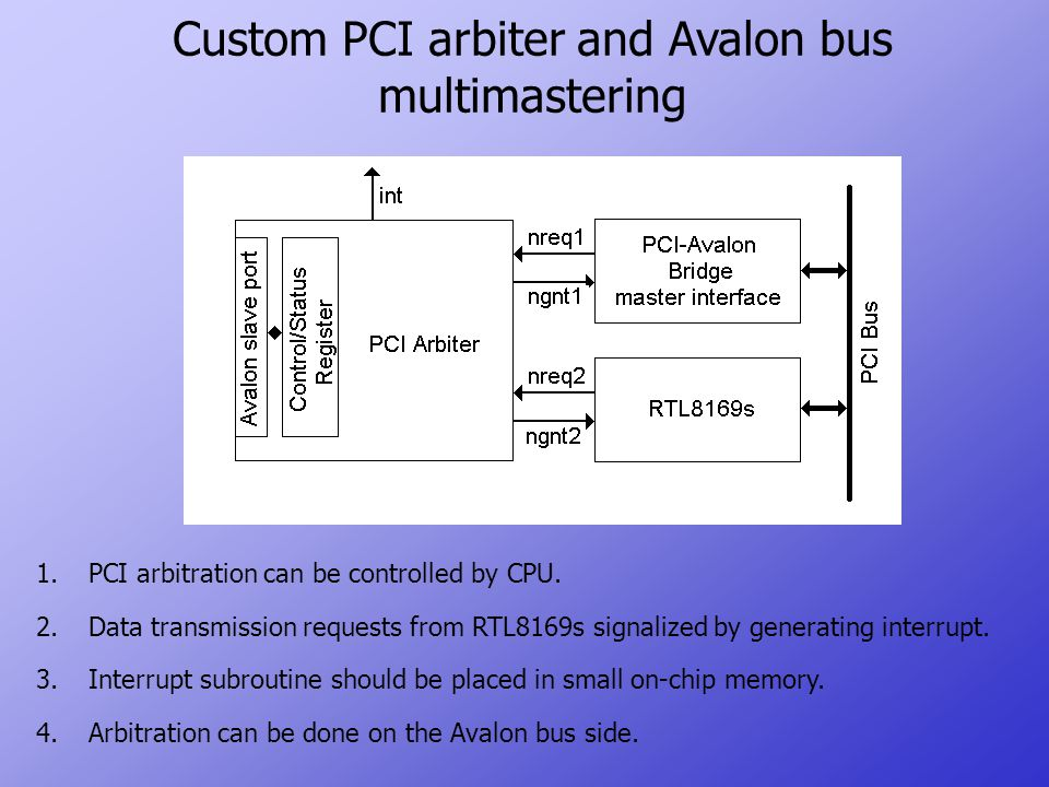 Custom PCI arbiter and Avalon bus multimastering 1.PCI arbitration can be controlled by CPU.