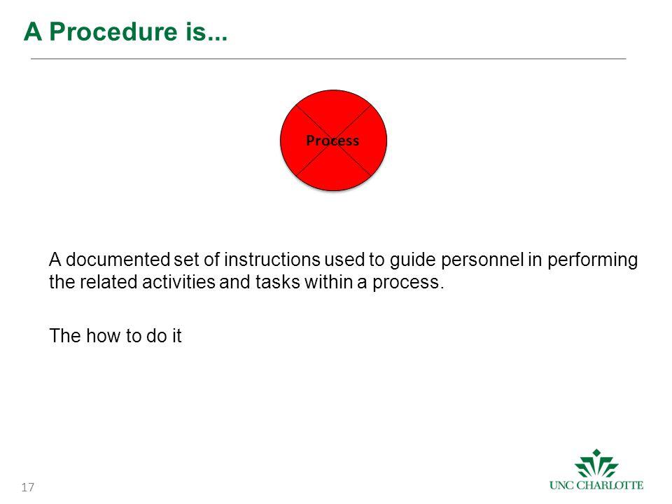 A Procedure is...