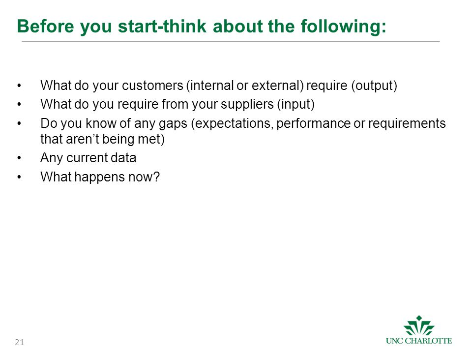 Before you start-think about the following: What do your customers (internal or external) require (output) What do you require from your suppliers (input) Do you know of any gaps (expectations, performance or requirements that aren't being met) Any current data What happens now.