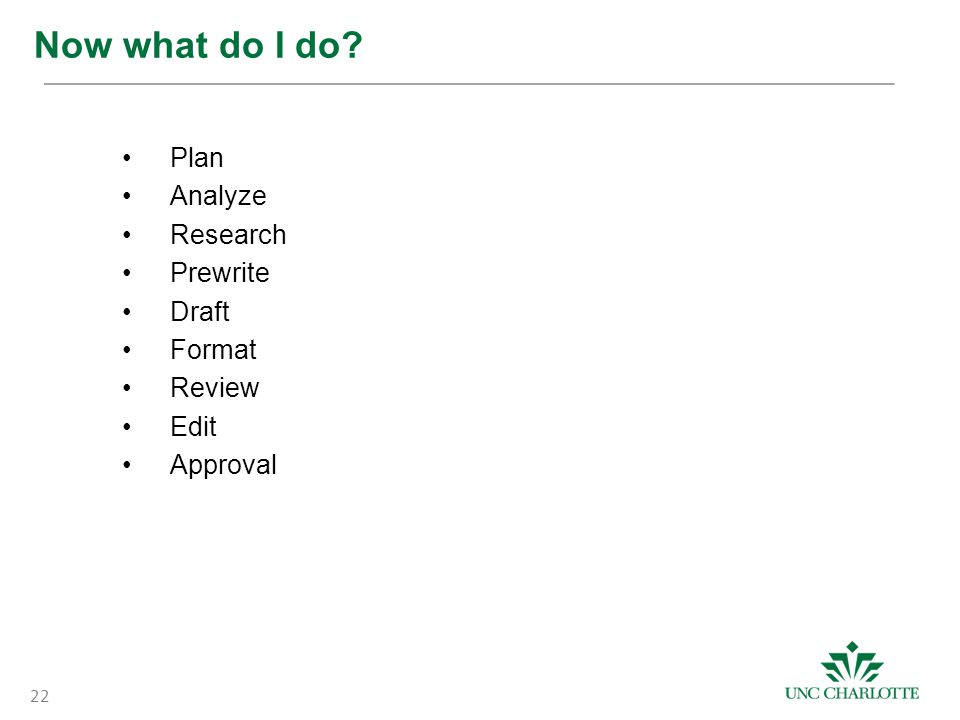 Now what do I do? Plan Analyze Research Prewrite Draft Format Review Edit Approval 22