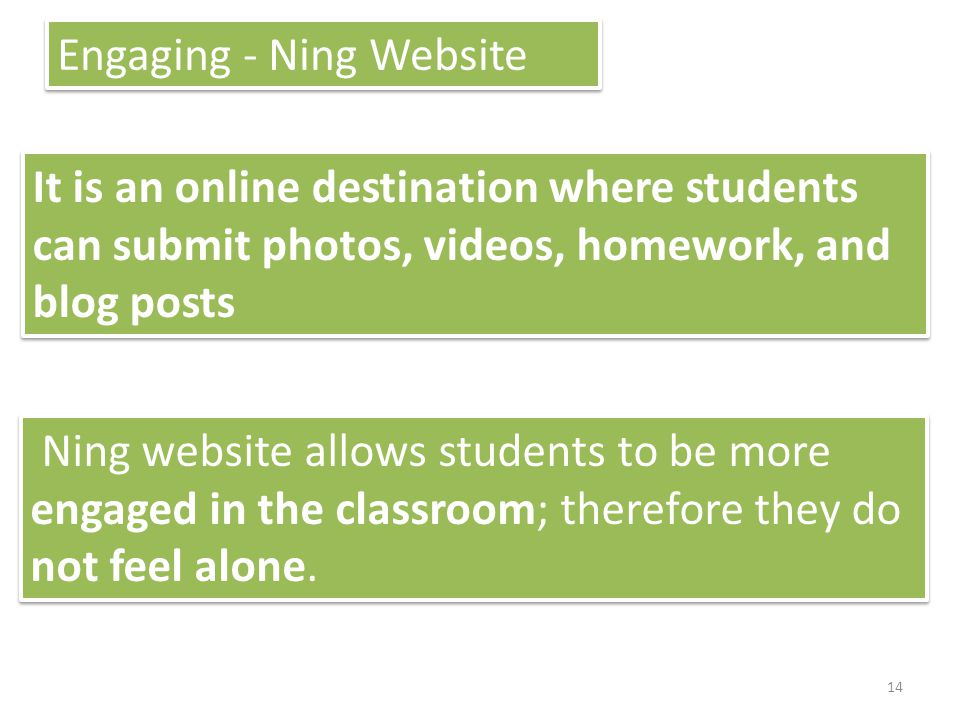 Engaging - Ning Website It is an online destination where students can submit photos, videos, homework, and blog posts Ning website allows students to be more engaged in the classroom; therefore they do not feel alone.