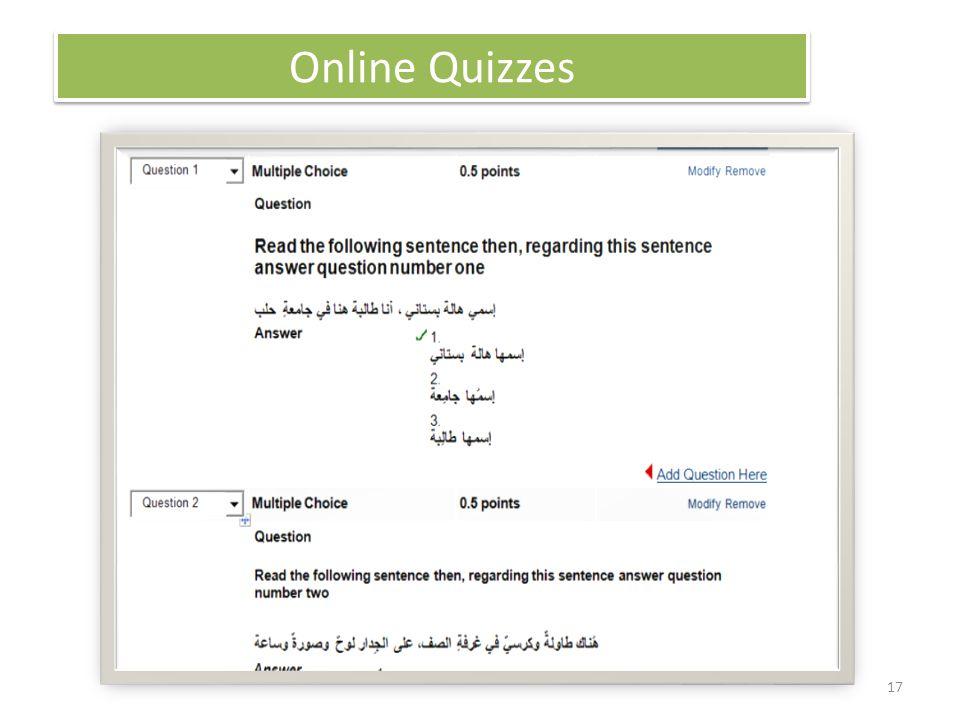 17 Online Quizzes