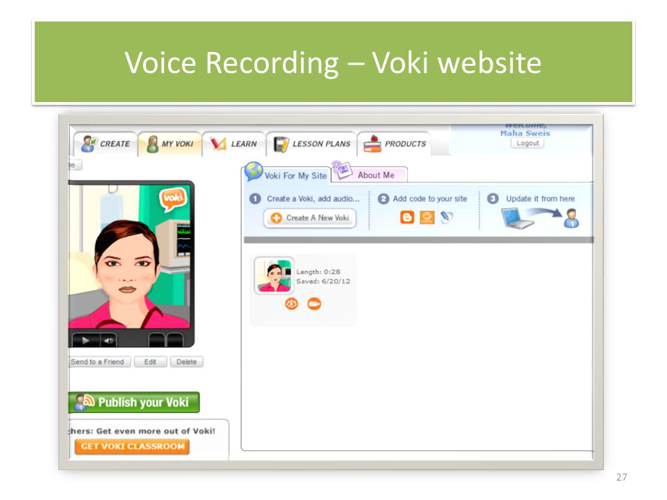 27 Voice Recording – Voki website