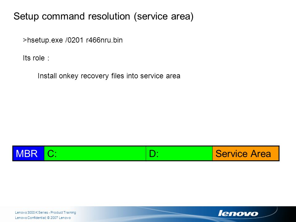| © 2007 LenovoLenovo Confidential Lenovo 3000 K Series - Product Training MBRC:D:Service Area Setup command resolution (service area) >hsetup.exe /0201 r466nru.bin Its role : Install onkey recovery files into service area