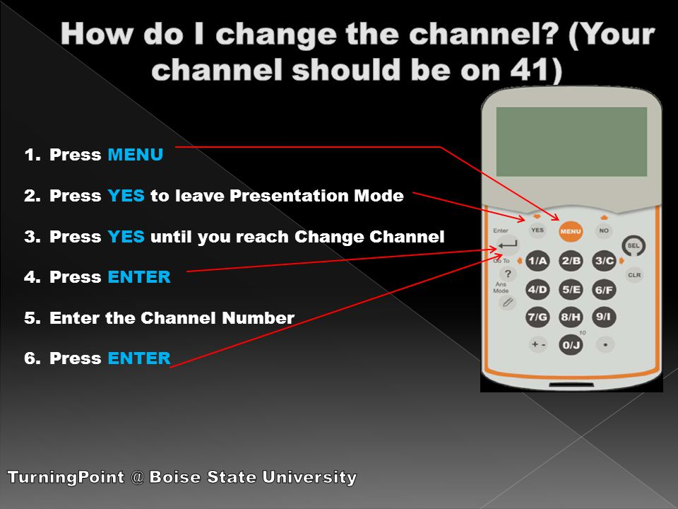 1.Press MENU 2.Press YES to leave Presentation Mode 3.Press YES until you reach Change Channel 4.Press ENTER 5.Enter the Channel Number 6.Press ENTER