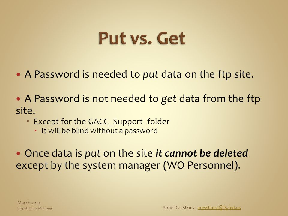 A Password is needed to put data on the ftp site. A Password is not needed to get data from the ftp site.  Except for the GACC_Support folder  It wi