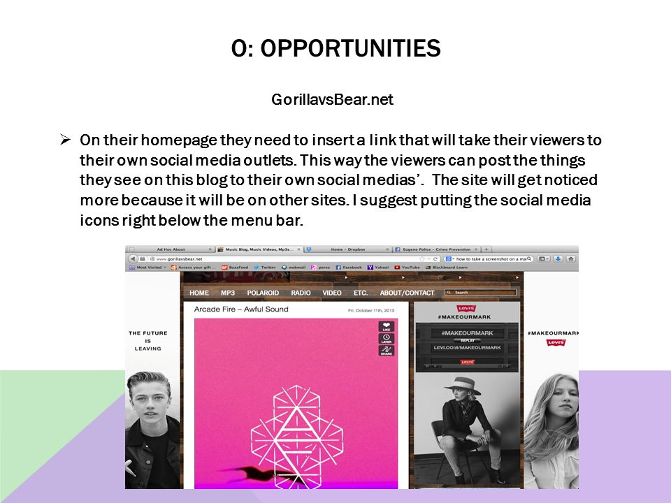 O: OPPORTUNITIES GorillavsBear.net  On their homepage they need to insert a link that will take their viewers to their own social media outlets. This