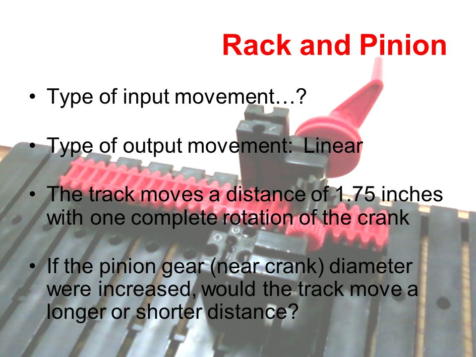 Type of input movement…? Type of output movement: Linear The track moves a distance of 1.75 inches with one complete rotation of the crank If the pini
