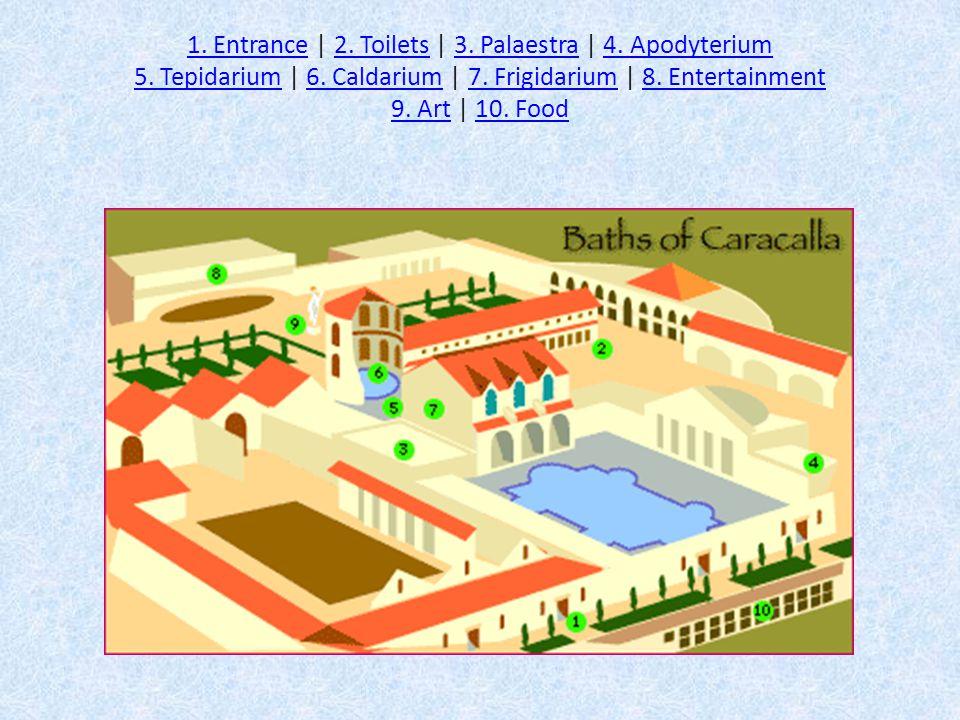 1. Entrance1. Entrance | 2. Toilets | 3. Palaestra | 4. Apodyterium 5. Tepidarium | 6. Caldarium | 7. Frigidarium | 8. Entertainment 9. Art | 10. Food
