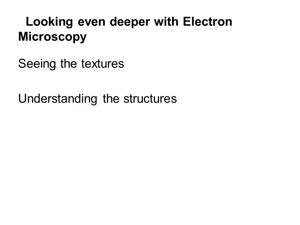 Looking even deeper with Electron Microscopy Seeing the textures Understanding the structures