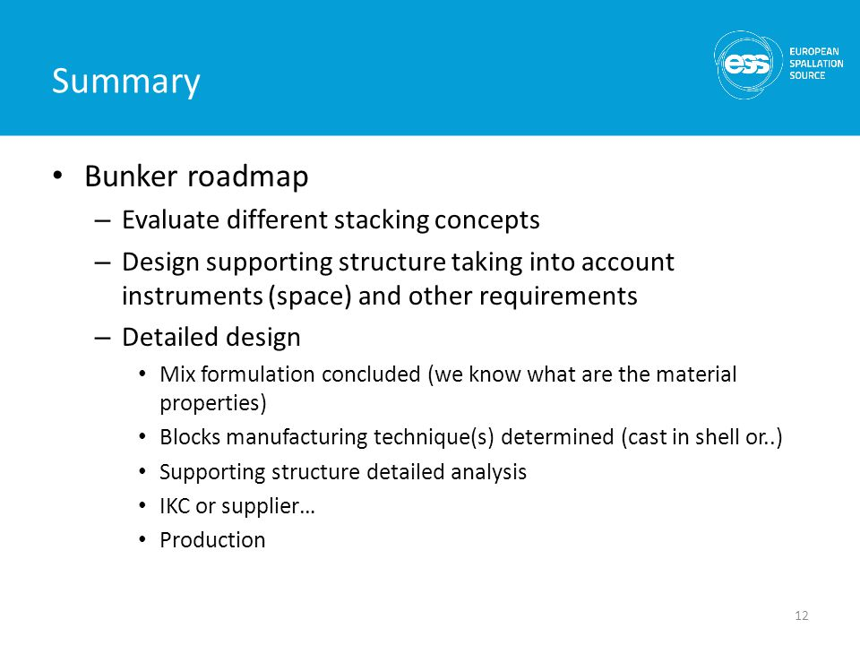 Summary Bunker roadmap – Evaluate different stacking concepts – Design supporting structure taking into account instruments (space) and other requirem