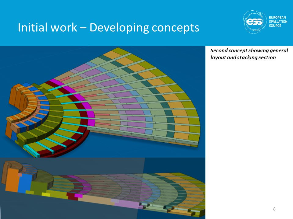 Initial work – Developing concepts Second concept showing general layout and stacking section 8