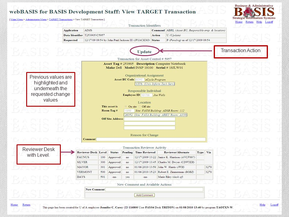 Previous values are highlighted and underneath the requested change values Reviewer Desk with Level. Transaction Action