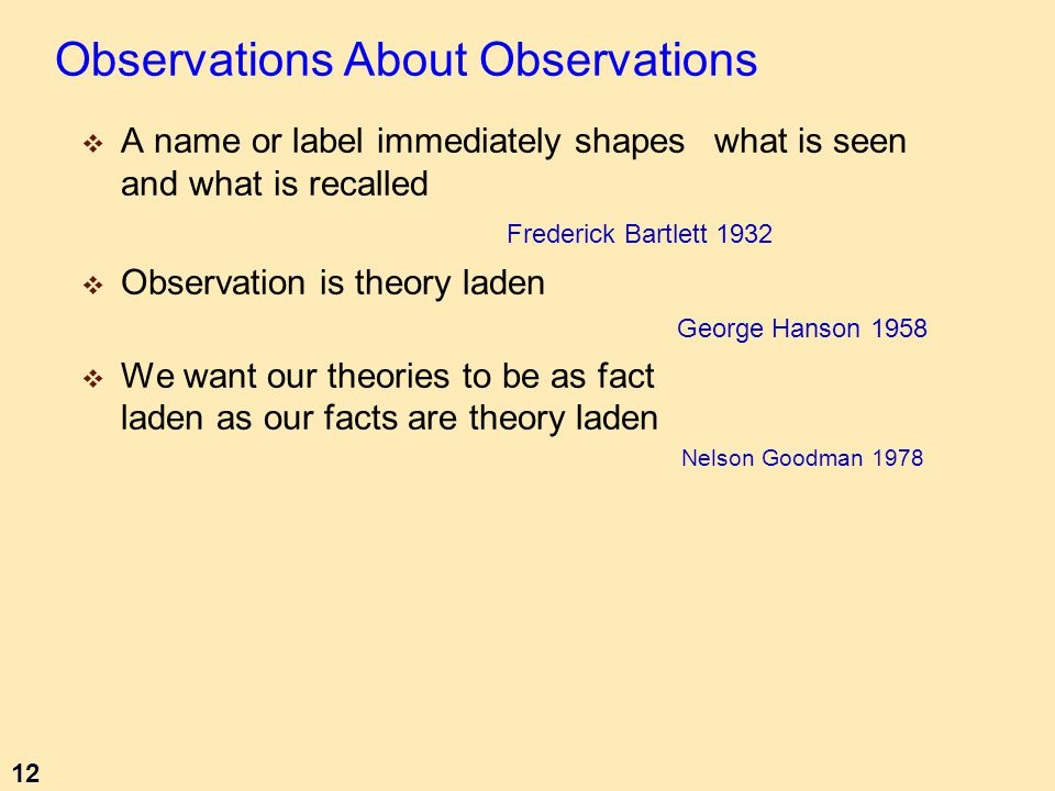 12 Observations About Observations  A name or label immediately shapes what is seen and what is recalled Frederick Bartlett 1932  Observation is theory laden George Hanson 1958  We want our theories to be as fact laden as our facts are theory laden Nelson Goodman 1978