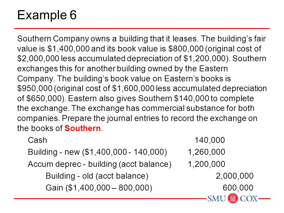 Example 6 Southern Company owns a building that it leases. The building's fair value is $1,400,000 and its book value is $800,000 (original cost of $2