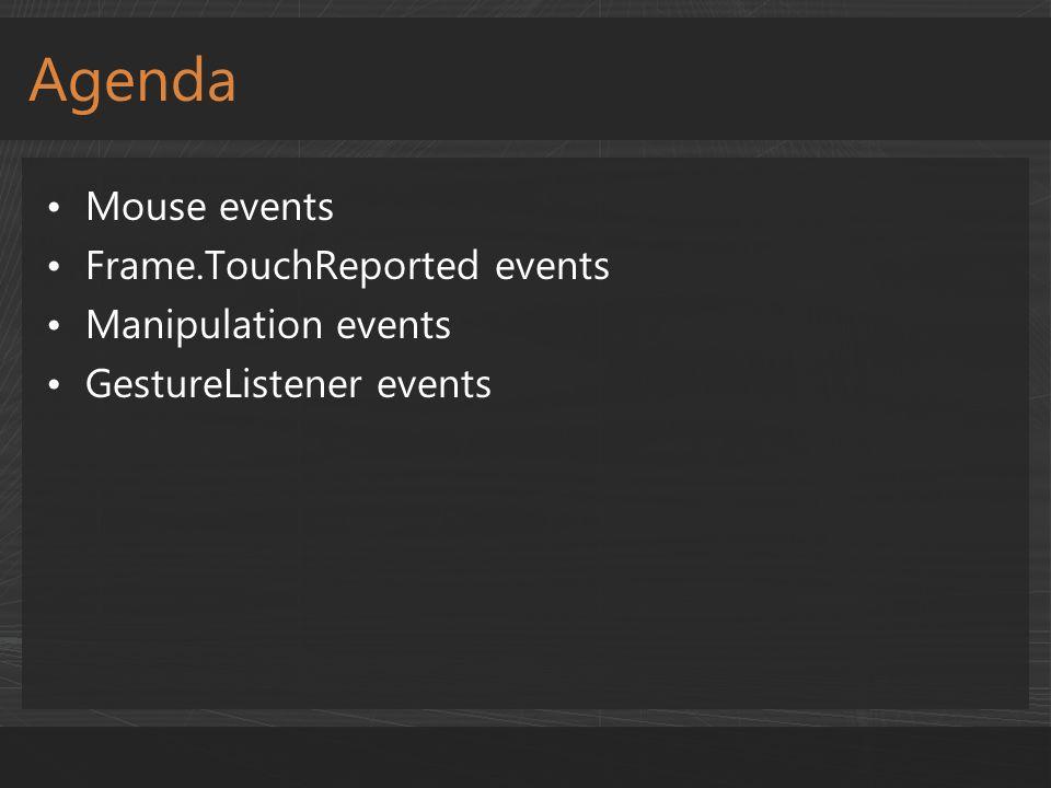Agenda Mouse events Frame.TouchReported events Manipulation events GestureListener events