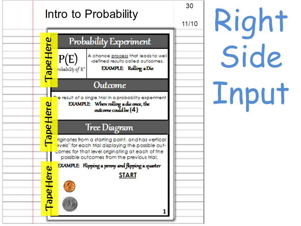 Right Side Input Intro to Probability 30 11/10 Tape Here