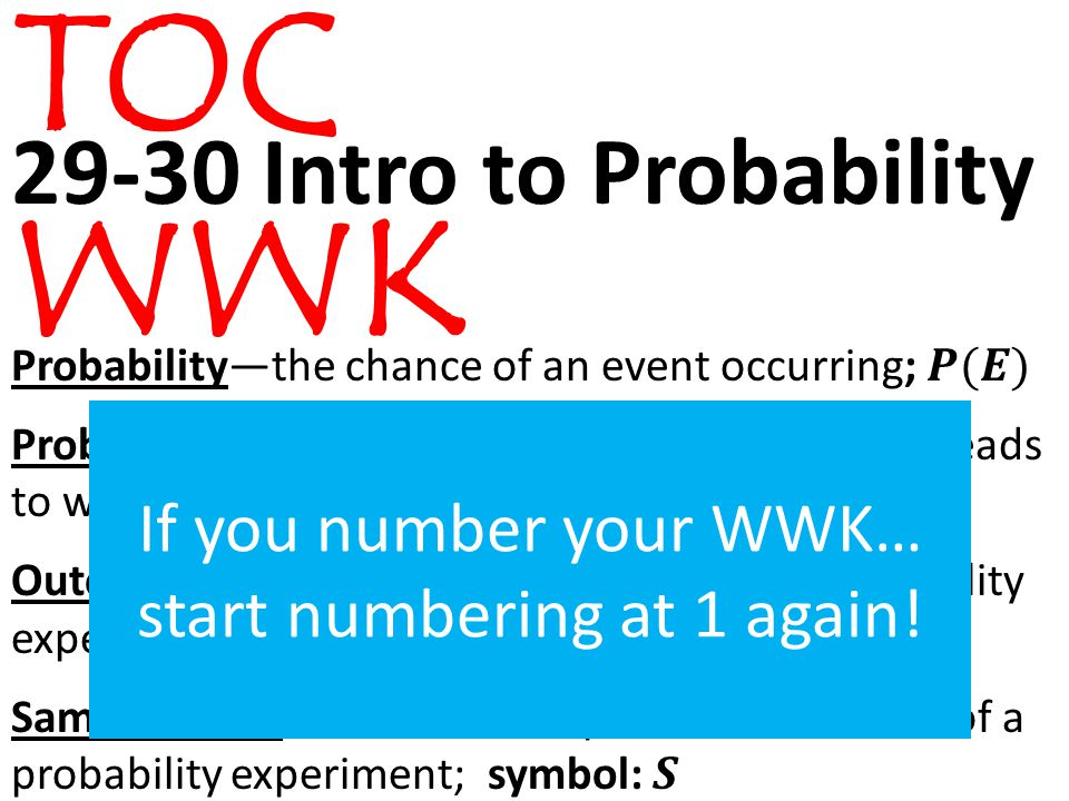 TOC WWK If you number your WWK… start numbering at 1 again!