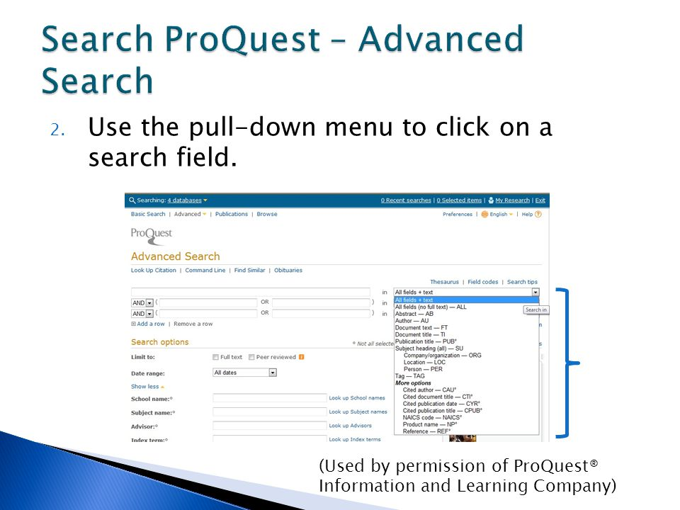 2. Use the pull-down menu to click on a search field.