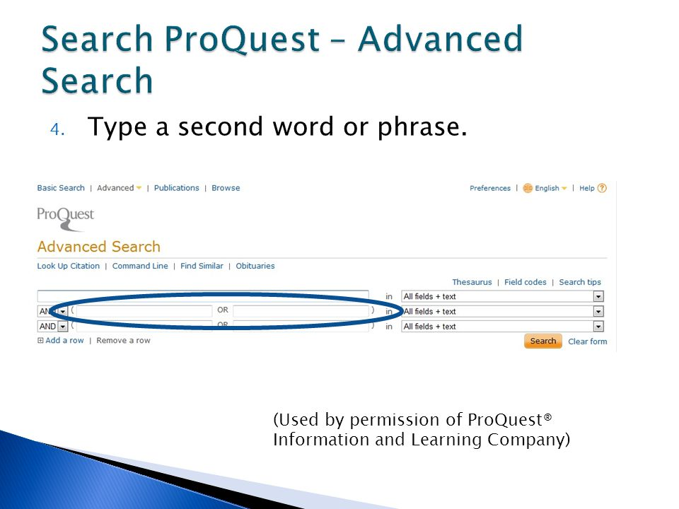 4. Type a second word or phrase. (Used by permission of ProQuest® Information and Learning Company)